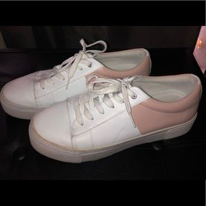 Marc Fisher pink and white fashion sneakers